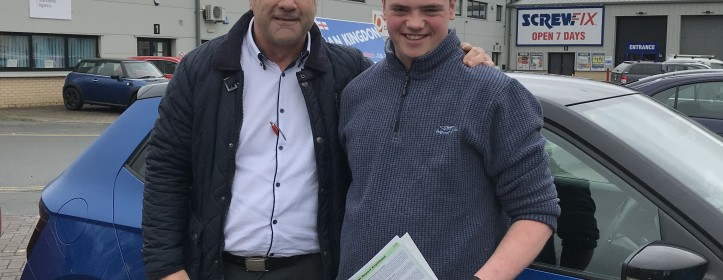 Sam passed his driving test First time in Barnstaple this week.